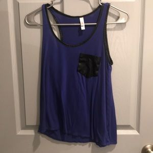 Blue Tank Top with Leather Pocket and Accents